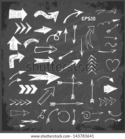 Sketch arrows collection for your design on blackboard. Vector illustration. - stock vector