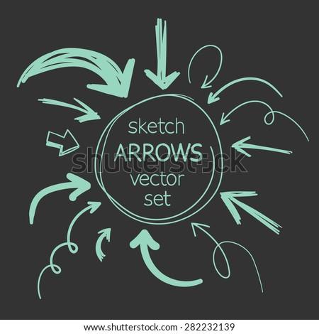 sketch arrows vector set - stock vector