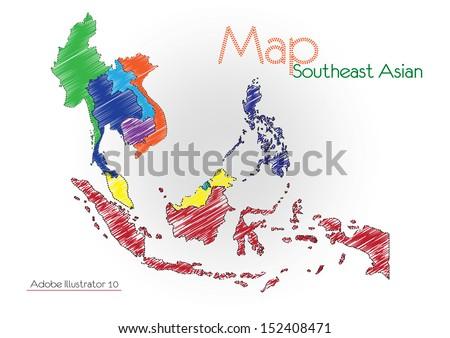 sketch asean Map, Vector illustration - stock vector