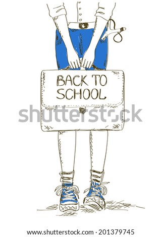 Sketch back to school illustration with boy holding bag - stock vector