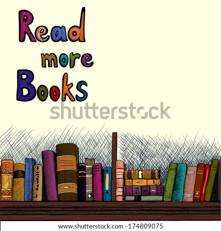 Sketch background with a book shelf - stock vector