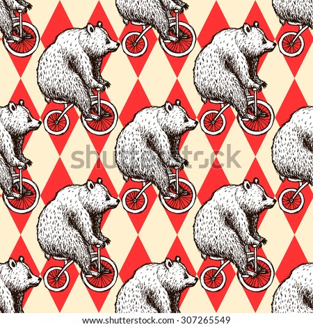Sketch bear on a bike in vintage style, vector seamless pattern - stock vector