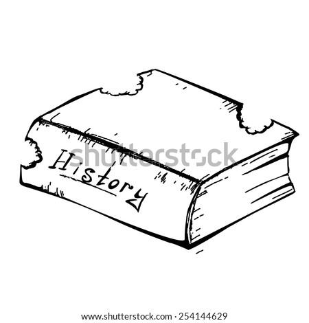 Sketch book worm bitten - stock vector