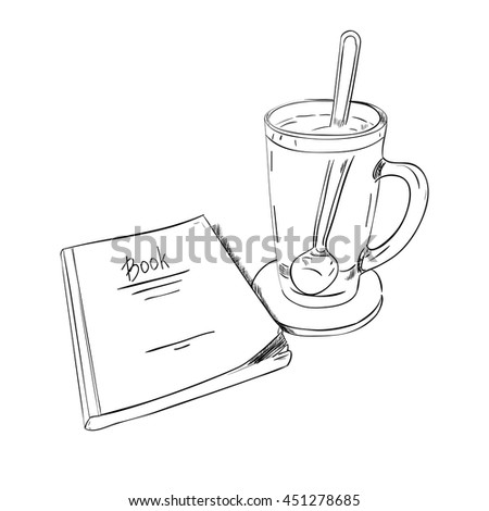 Sketch books and cups with a spoon. Vector illustration - stock vector