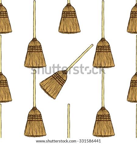 Sketch broom in vintage style, vector seamless pattern - stock vector