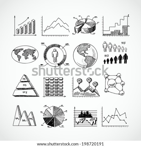 Sketch business diagrams charts dot bar pie graphs icons set isolated doodle vector illustration - stock vector
