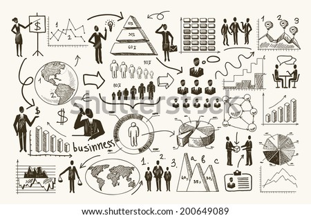 Sketch business organization management process people infographic with charts vector illustration - stock vector