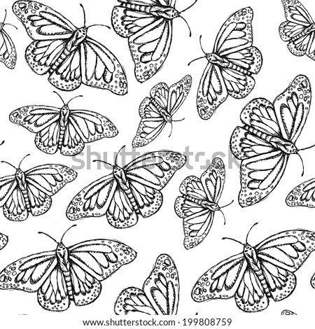 Sketch butterfly, vector vintage seamless pattern eps 10  - stock vector