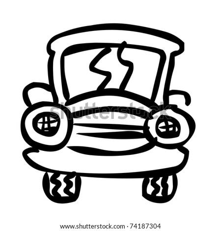 sketch - car - stock vector