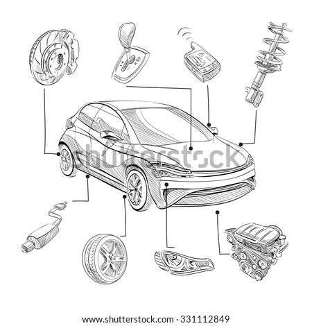 Sketch car abstract vector design concept. Infographics hand drawn illustration - stock vector