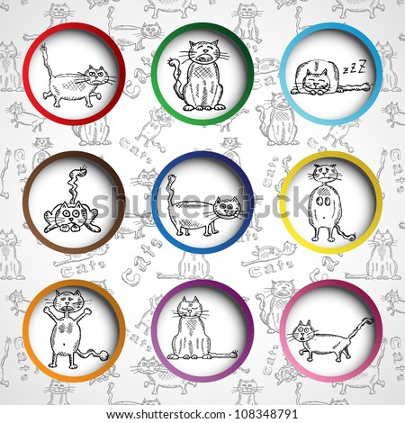 Sketch cats collection in 3d circles, vector illustration, eps10, vector illustration, 4 layers (easy editable). Bonus! Seamless cat background (2nd layer)! - stock vector