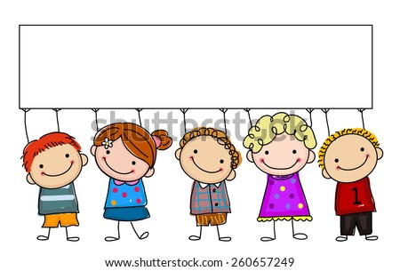 Sketch children and banner - stock vector