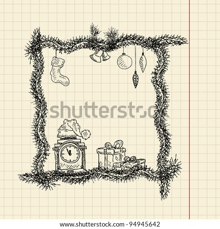 Sketch christmas frame, vector illustration, eps10 - stock vector