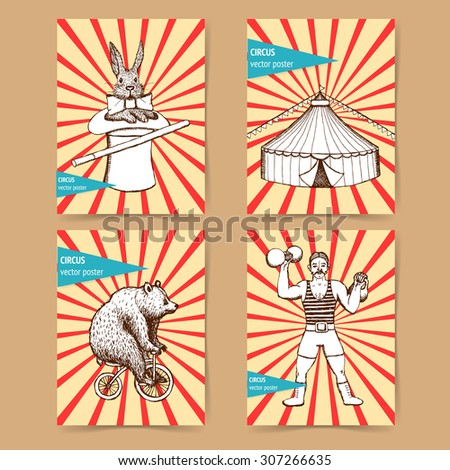 Sketch circus posters in vintage style, vector tent, rabbit, strongman, bear - stock vector