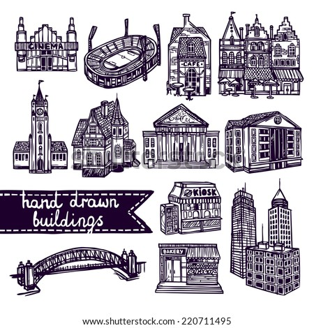Sketch city building decorative icons set of cinema shop church isolated vector illustration - stock vector