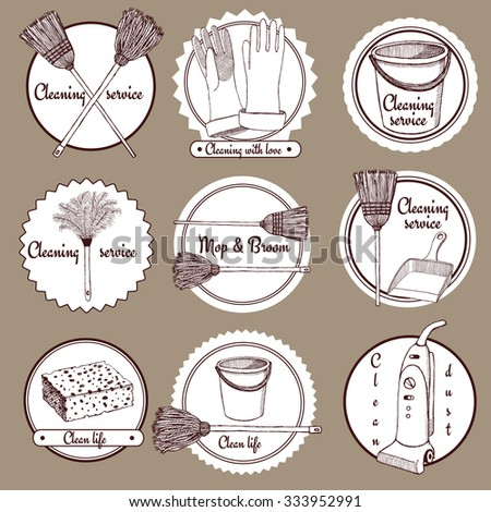 Sketch cleaning logotype in vintage style, vector - stock vector
