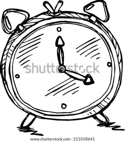 sketch clock  - stock vector