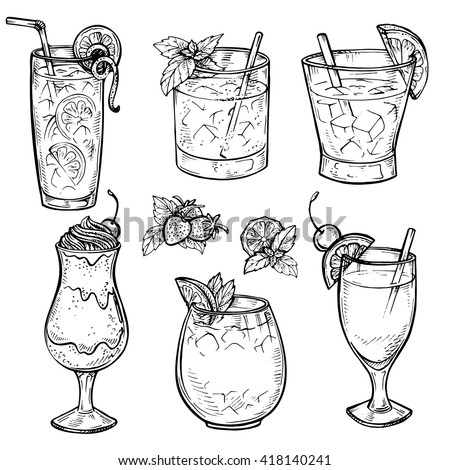 Sketch cocktails and alcohol drinks set. Hand drawn vector illustration. Whiskey, margarita, juice, milk shake and other. Set 1. - stock vector