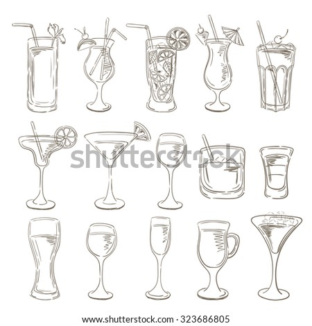 Sketch Cocktails collection. Vector Set of Sketch Cocktails and Alcohol Drinks. Margarita, Blue Lagoon, Mojito, Cosmopolitan, Pina Colada, Bloody Mary, Mulled wine,  - stock vector
