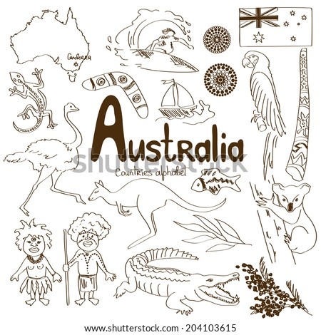 Sketch collection of Australia icons, countries alphabet - stock vector