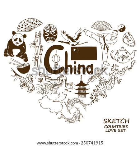 Sketch collection of Chinese symbols in heart shape concept. Travel background - stock vector