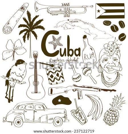 Sketch collection of Cuban icons, countries alphabet