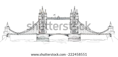 Sketch collection of famous buildings. London, Tower bridge - stock vector