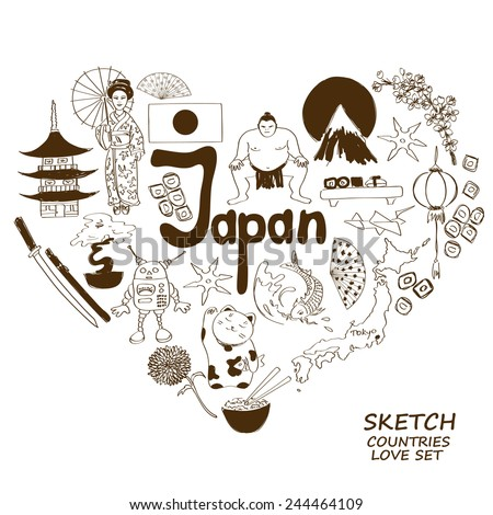 Sketch collection of Japanese symbols. Heart shape concept. Travel background - stock vector