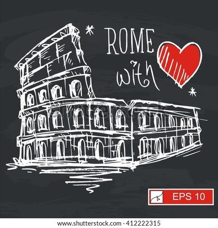 Sketch Colosseum in Rome, Italy n black board - stock vector