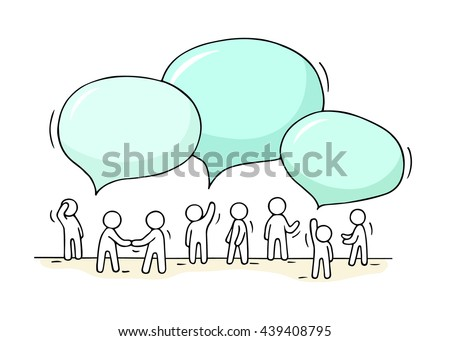 Sketch - crowd of working little people with speech bubbles. Doodle cute miniature teamwork and partnership. Hand drawn cartoon vector illustration for business design and infographic.