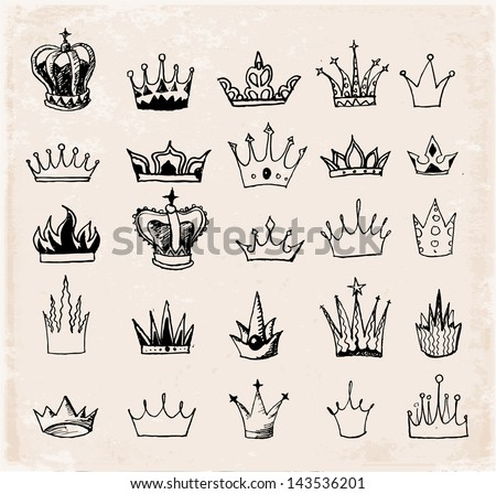 Sketch crowns collection. Hand-drawn with ink. Vector illustration. - stock vector