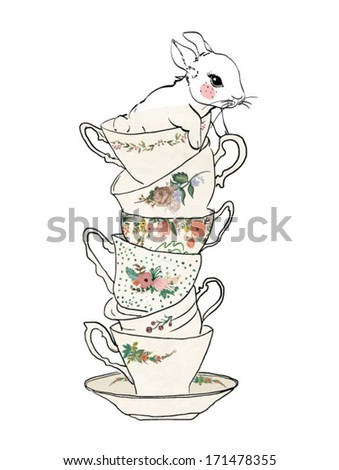 sketch cup with flowers and rabbit - stock vector
