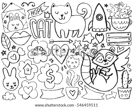 vector coloring page illustration with hearts and flowers animals and