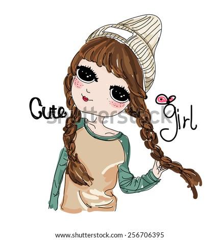 Sketch cute girl - stock vector