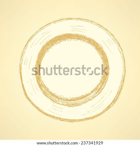 Sketch cute plate in vintage style, vector - stock vector