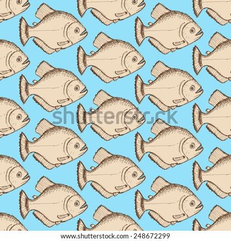 Sketch dangerous piranha in vintage style, vector seamless pattern - stock vector