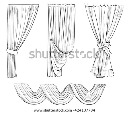 Open curtains drawing sketch coloring page for Window design sketch