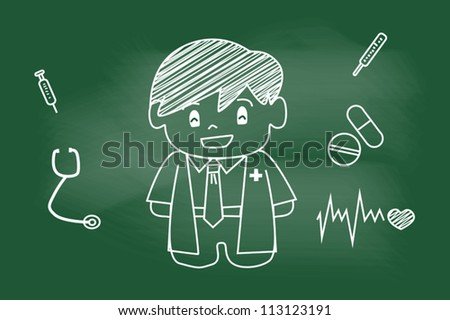 sketch doctor on blackboard - stock vector