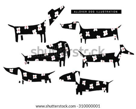 sketch dog illustration pattern - stock vector