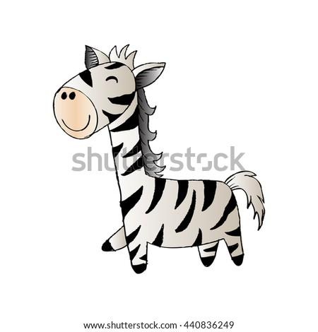 Sketch Doodle Baby Zebra . - stock vector