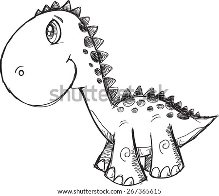 Sketch Doodle Dinosaur Vector Illustration Art - stock vector