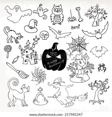 Sketch Doodle Halloween Icon Set Hand Stock Vector 217985347 ...