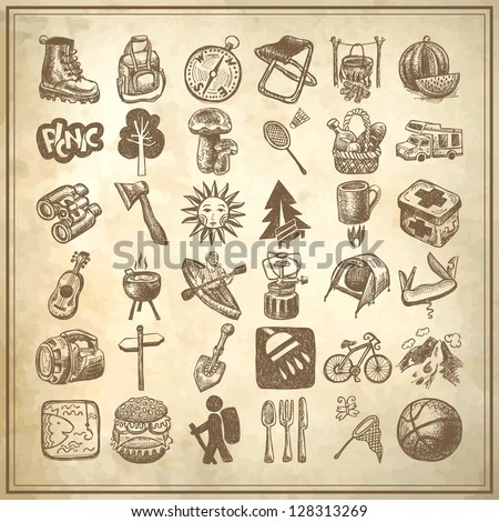 sketch doodle icon collection, picnic, travel and camping theme on grunge background - stock vector