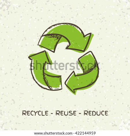 Sketch doodle recycle reuse symbol isolated on craft paper background. Hand drawn vector recycle icon. Recycle sign for ecological design - stock vector