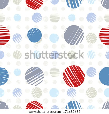 Sketch dots seamless pattern, pale colored vector background.
