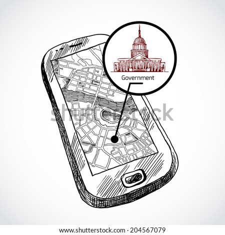 Sketch draw smartphone with navigation map and find government building vector illustration - stock vector