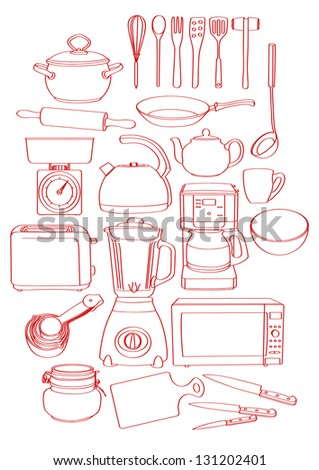 Sketch, drawing of a bunch of kitchen tools/ kitchenware. Can be used as background or separate elements. - stock vector