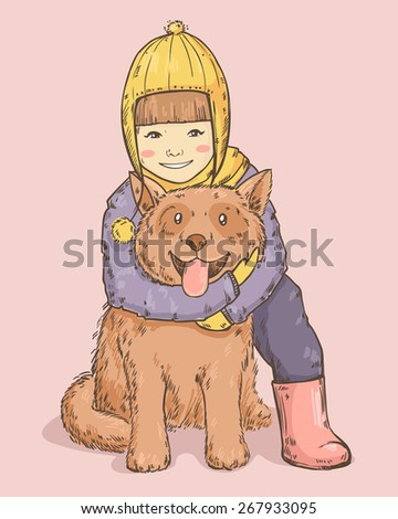 Sketch drawing smiling little girl in winter hat with happy dog isolated on white background - stock vector