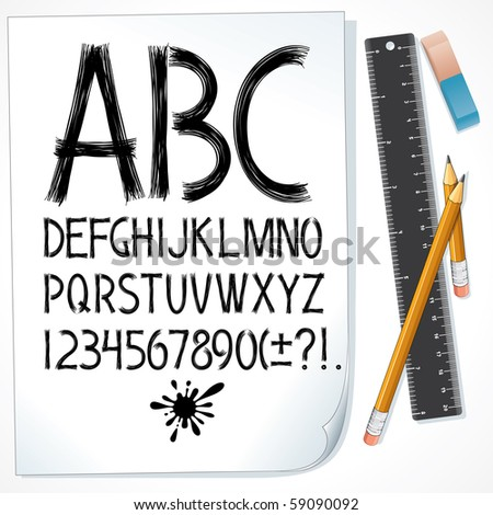 Sketch drawn alphabet on paper. Vector design font. All objects separated and grouped - stock vector