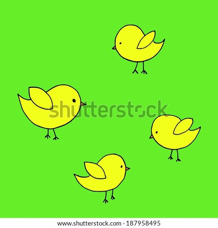 Sketch drawn illustration of yellow Easter chicks - stock vector